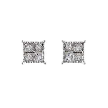 0.48Ctw Princess Cut Quad Earrings By FEHU