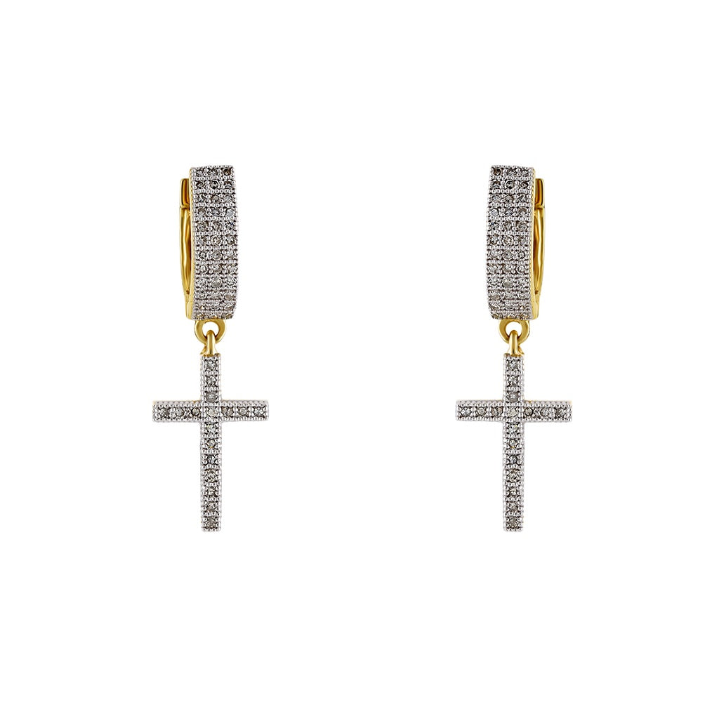 0.65Ctw Cross Huggie Hoop Earrings by FEHU