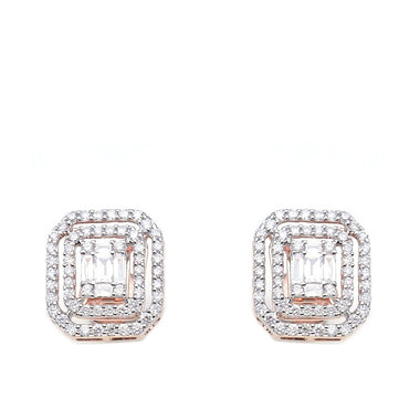 7/8ct. Baguette And Round Diamond Earrings 14K, 10K, Gold & 925 Silver  By Fehu Jewel