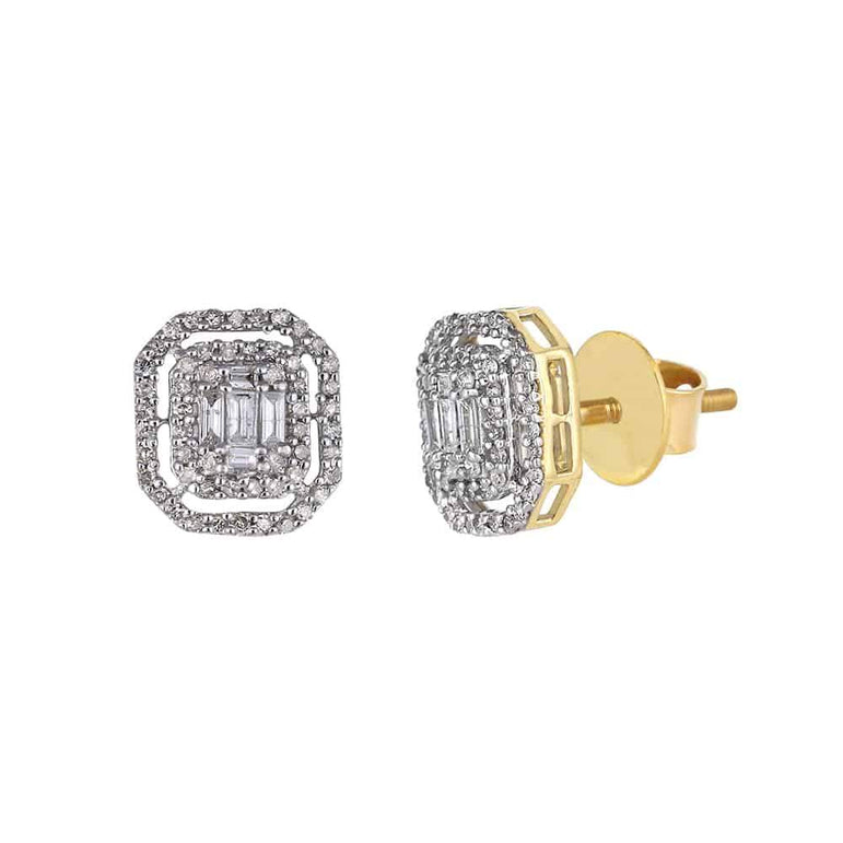 Baguette and Round Diamond Yellow Gold Stud Earrings for Men