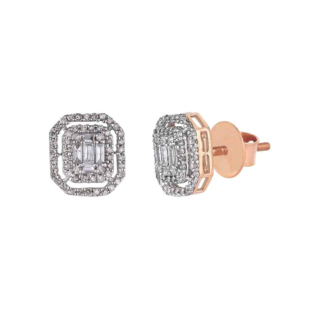 Baguette and Round Diamond Rose Gold Stud Earrings for Men