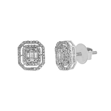 Baguette and Round Diamond White Gold Stud Earrings for Men