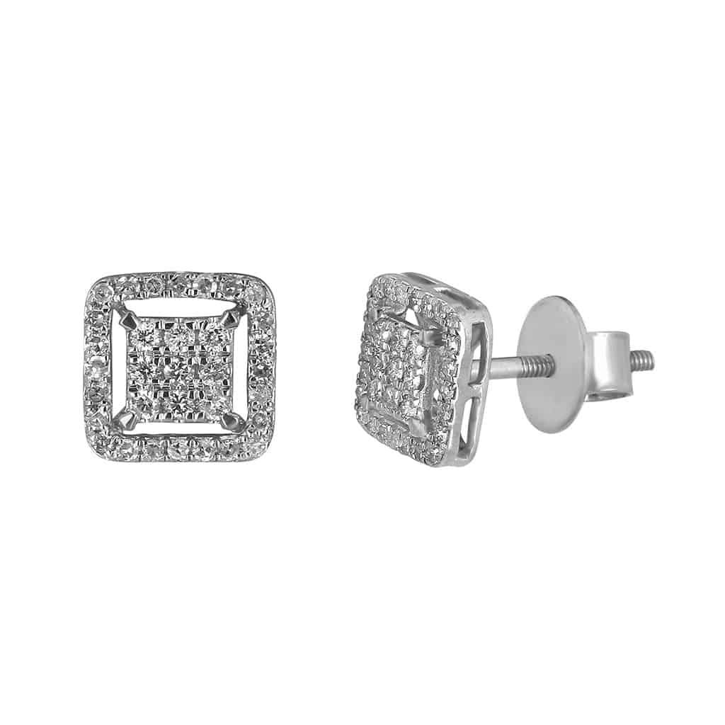 Diamond Stud Earrings for Men white gold