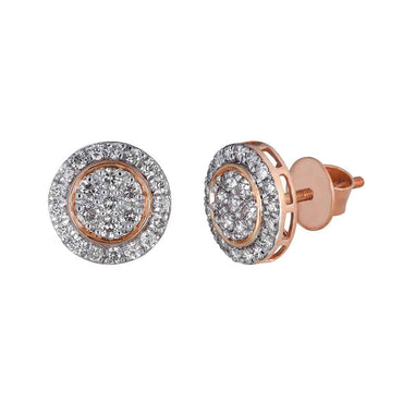 Round Stud Earrings for Unisex rose gold
