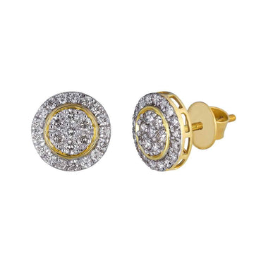 Round Stud Earrings for Unisex yellow gold