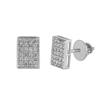 Rectangle Shape Stud Men's Earrings white gold