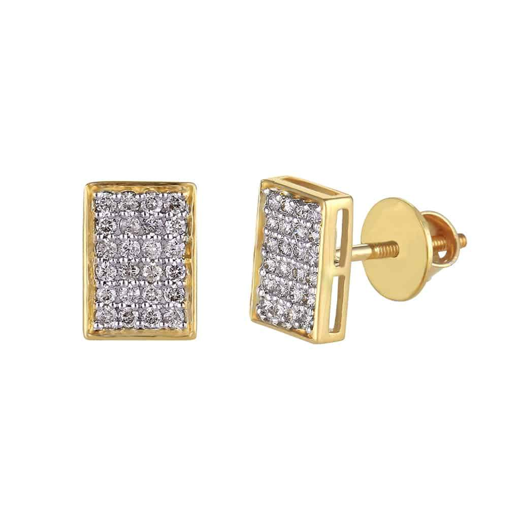 Rectangle Shape Stud Men's Earrings yellow gold