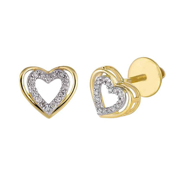 Yellow Gold Heart Shaped Hip Hop Mens Earrings