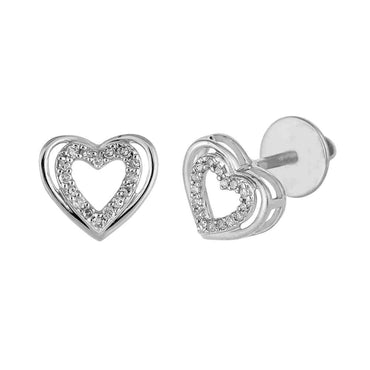 White Gold Heart Shaped Hip Hop Mens Earrings
