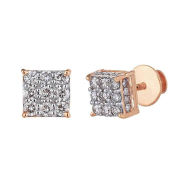 Square Stud Earrings rose gold