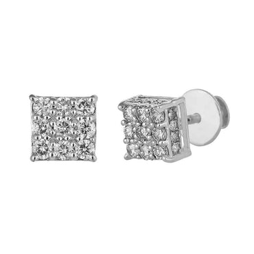 Square Stud Earrings white gold