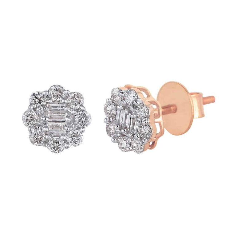 Baguette and Round Diamond Earrings rose gold
