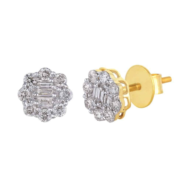 Baguette and Round Diamond Earrings yellow gold