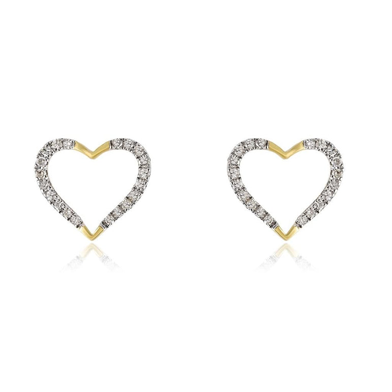 1/10 cts. Round Diamond Heart Earring 14K, 10K, Gold & 925 Silver By Fehu Jewel