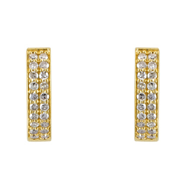 Channel-Set 0.21 Round Diamond Huggie Earring 14K, 10K, Gold & 925 Silver By Fehu Jewel