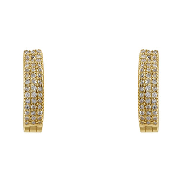 Channel-Set 1/10 cts. Round Diamond Huggie Earring 14K, 10K, Gold & 925 Silver By Fehu Jewel