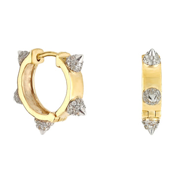 Diamond Pyramid Huggie Hoop Earrings 14K, 10K, Gold & 925 Silver By Fehu Jewel