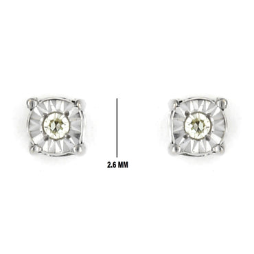 0.1 cts. Solitaire Illusion Diamond Setting Earring 14K, 10K, Gold & 925 Silver By Fehu Jewel