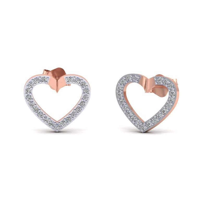0.21cts Natural Diamond Gold Over Sterling Silver Lovely Heart Earrings