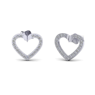 0.21cts Natural Diamond 10k Gold Lovely Heart Earrings for women