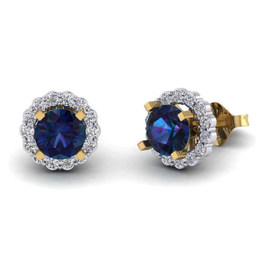 Sapphire Diamond Earring for Women yellow gold