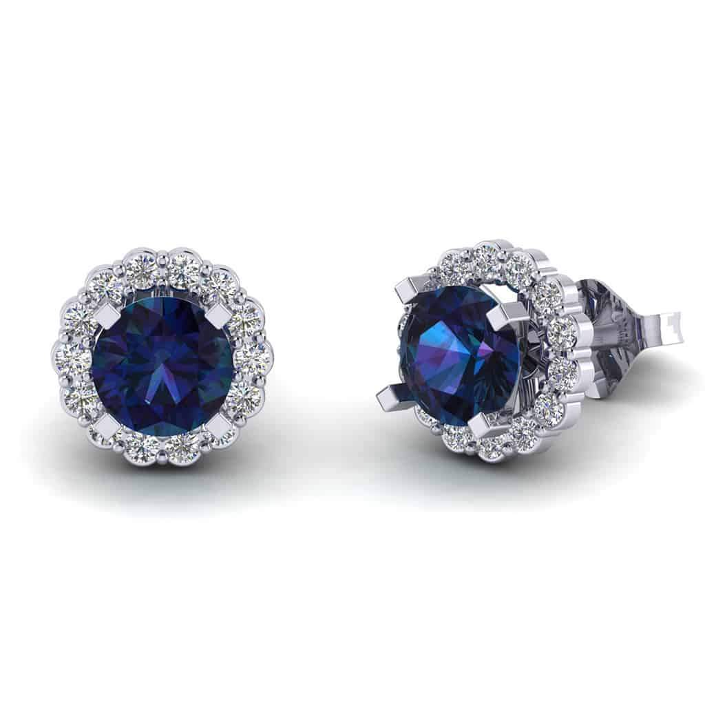 Sapphire Diamond Earring for Women white gold
