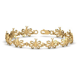 Yellow Gold Butterfly Bracelet For Women