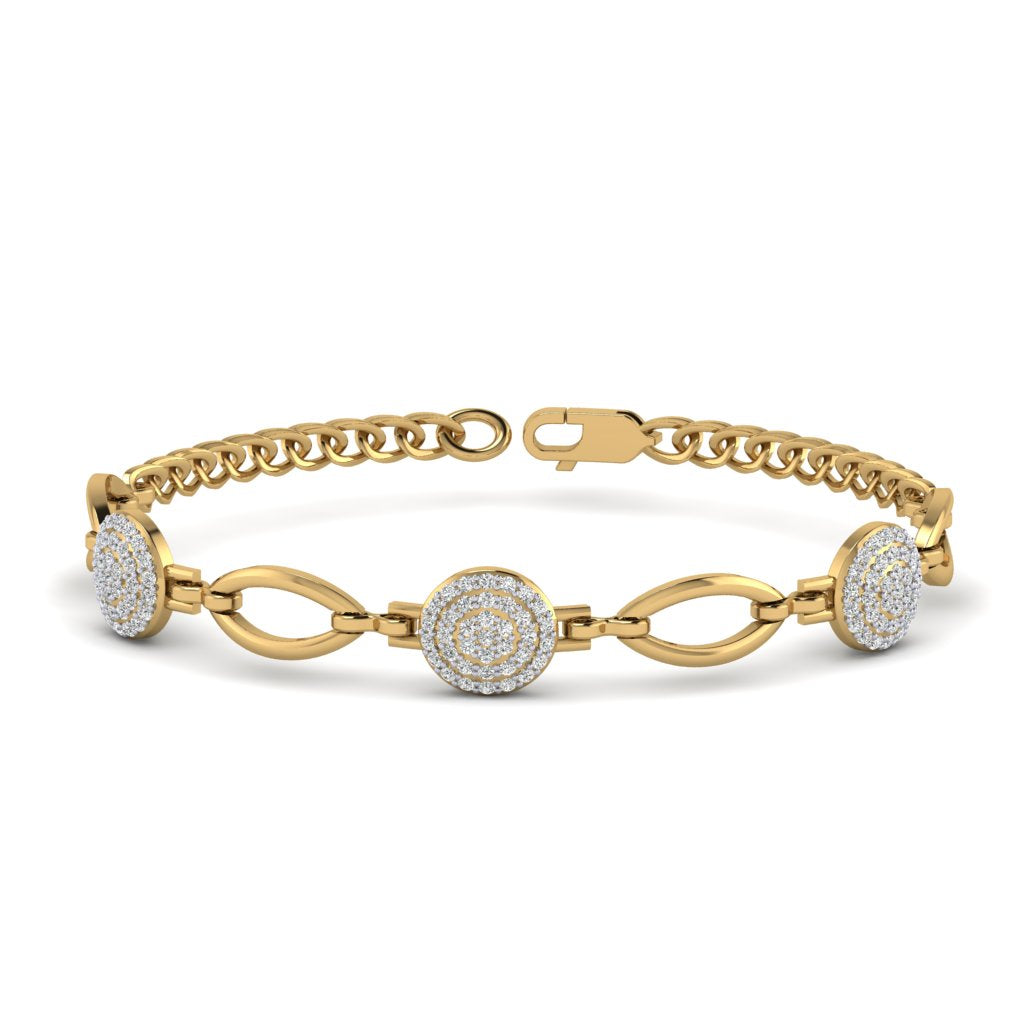 Yellow Gold Natural Round Diamond Bracelet