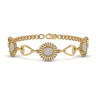 Yellow Gold Sunflower Shaped Natural Diamond Bracelet