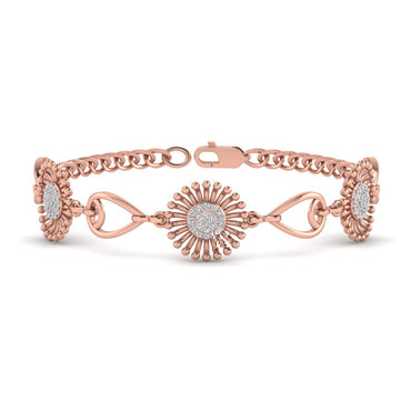 Rose Gold Sunflower Shaped Natural Diamond Bracelet
