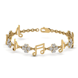 Yellow Gold Music Icon Shaped Natural Diamond Bracelet