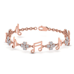 Rose Gold Music Icon Shaped Natural Diamond Bracelet