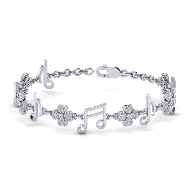 White Gold Music Icon Shaped Natural Diamond Bracelet