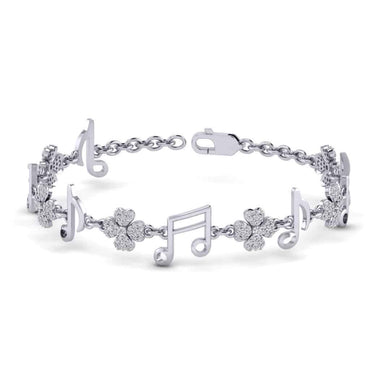 Music Charm Bracelet white gold