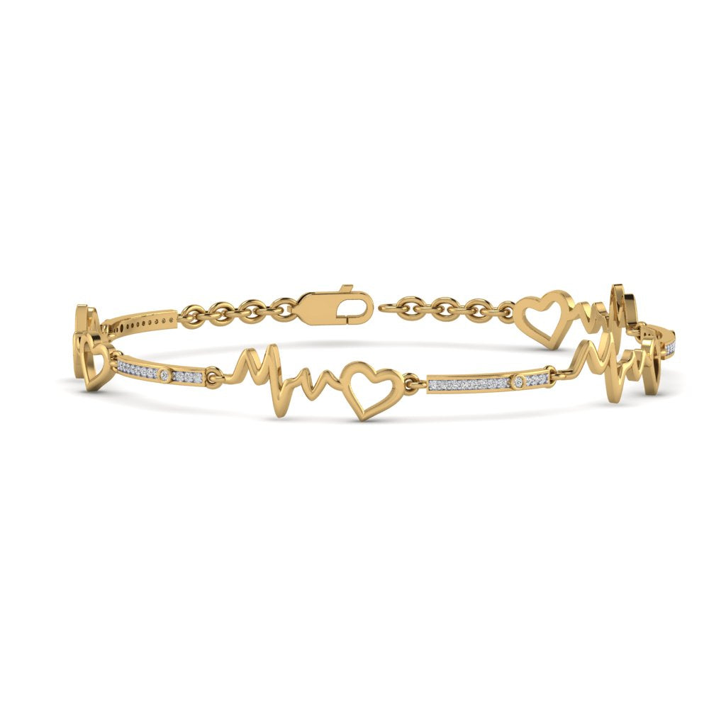 Yellow Gold Natural Diamond Heart with Heartbeat Bracelet