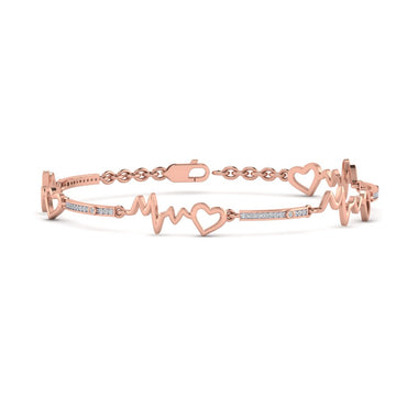 Rose Gold Natural Diamond Heart with Heartbeat Bracelet