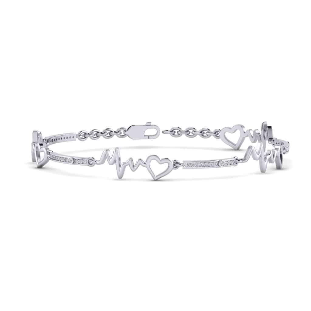 Heartbeat Bracelet white gold
