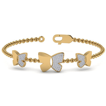 Yellow Gold Natural Diamond Butterfly Bracelet