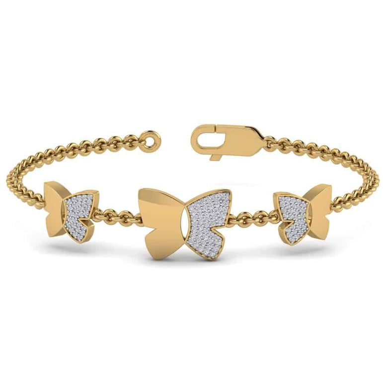 Three Butterfly Bracelet yellow Gold