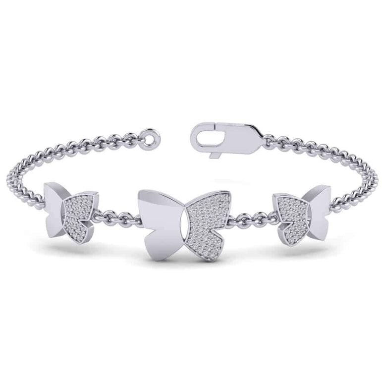 Three Butterfly Bracelet White Gold