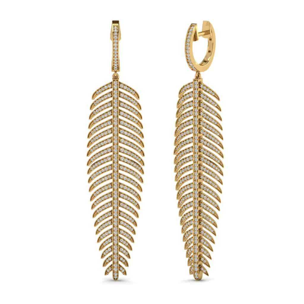 Diamond Palm Leaf Earrings for Women yellow gold