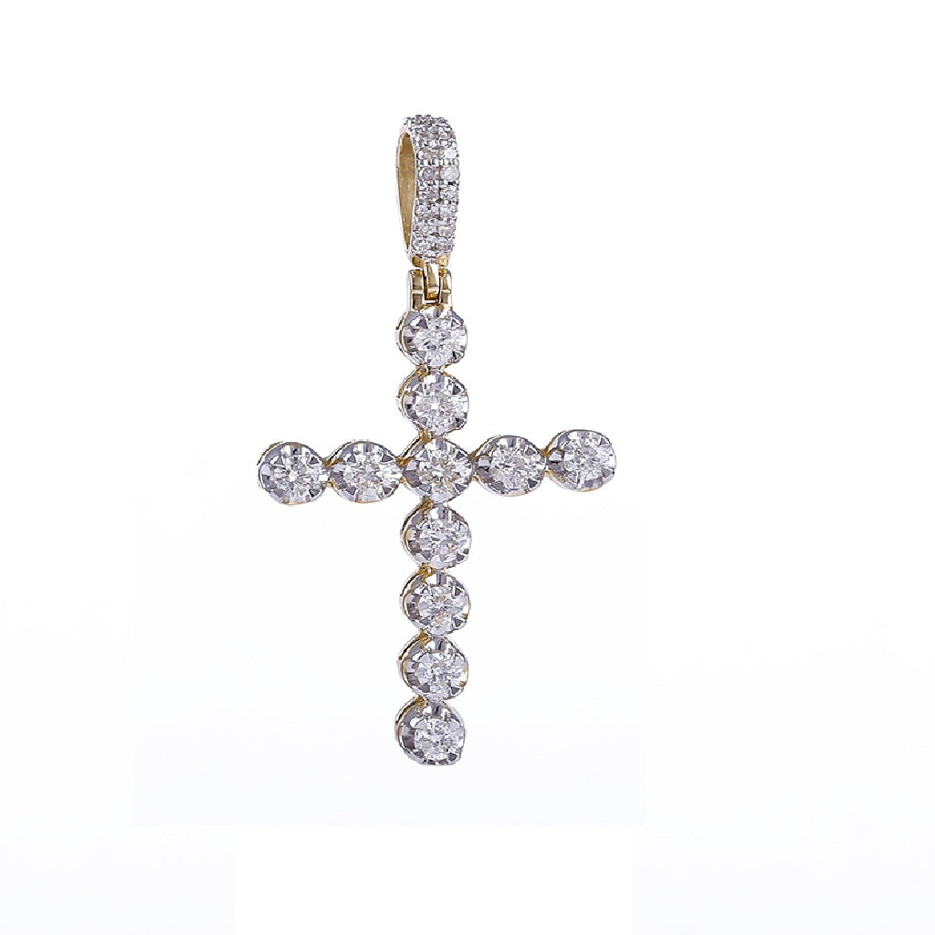 Round Cut Diamond Cross Necklace by FEHU