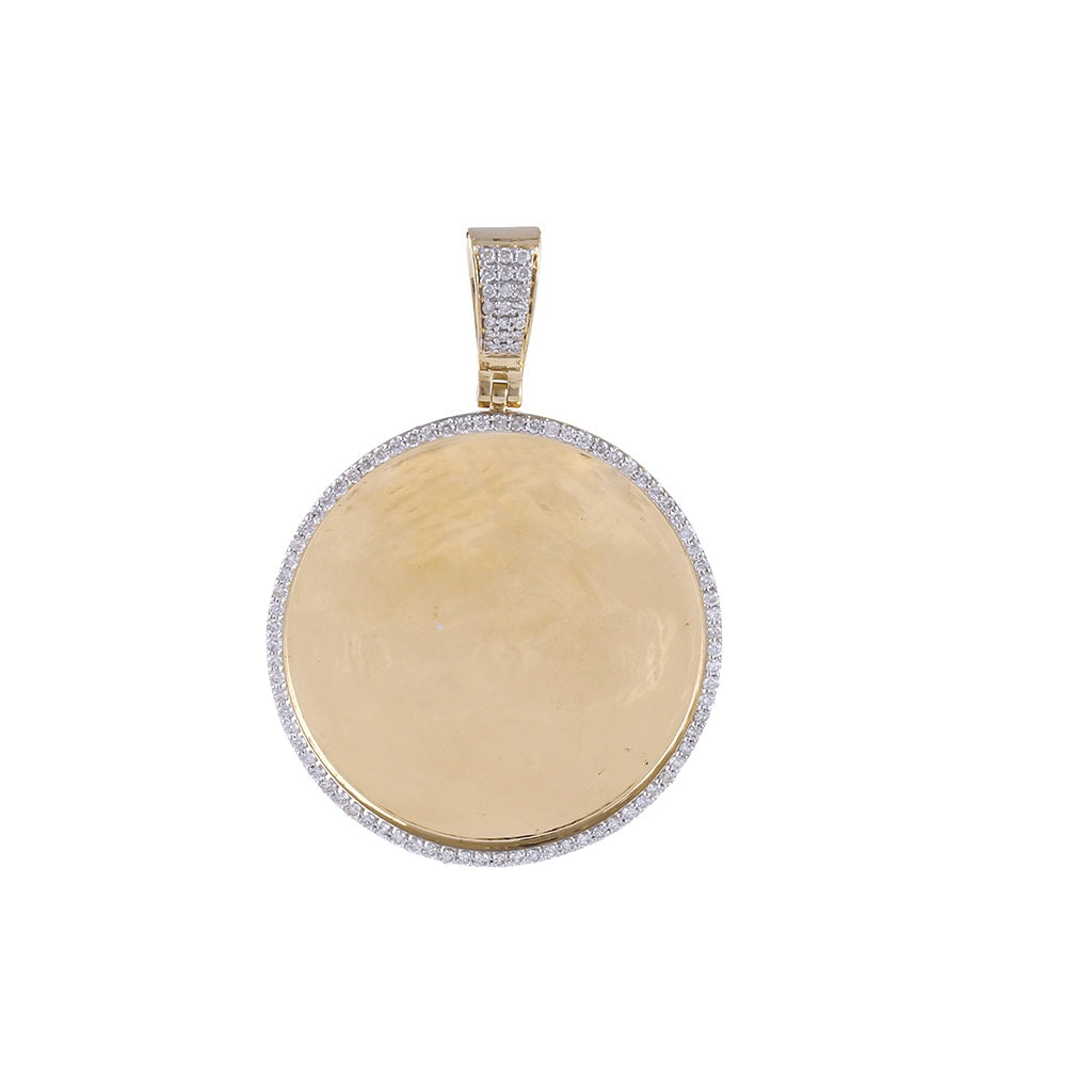 Round Shape Custom Photo Pendant With 7/8 CT. Round Diamond   By Fehu Jewel