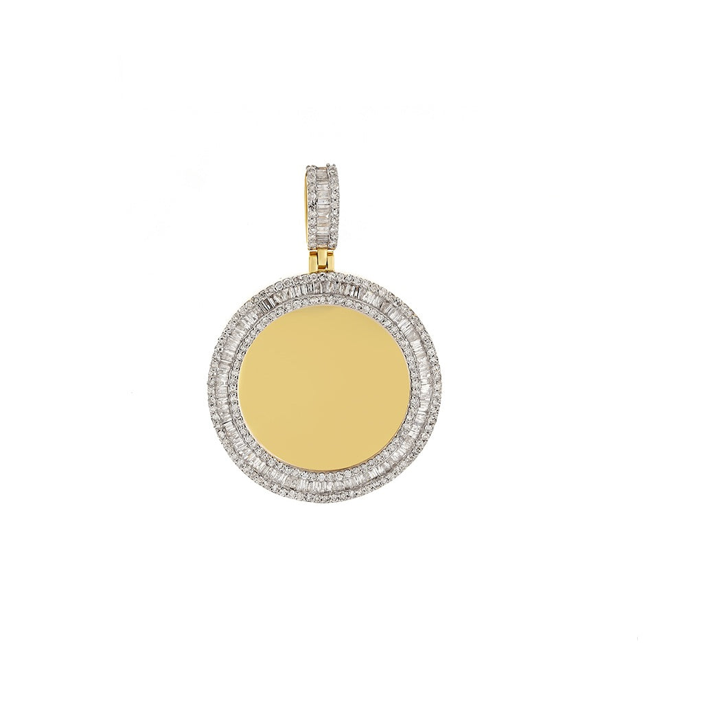 1-1/2 CT. Baguette And Round Diamond Picture Frame Pendant By Fehu Jewel