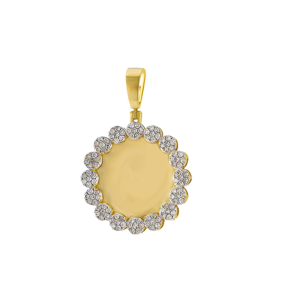 Custom Photo Pendant Round Shape  With 7/8 CT Round Diamond By Fehu Jewel