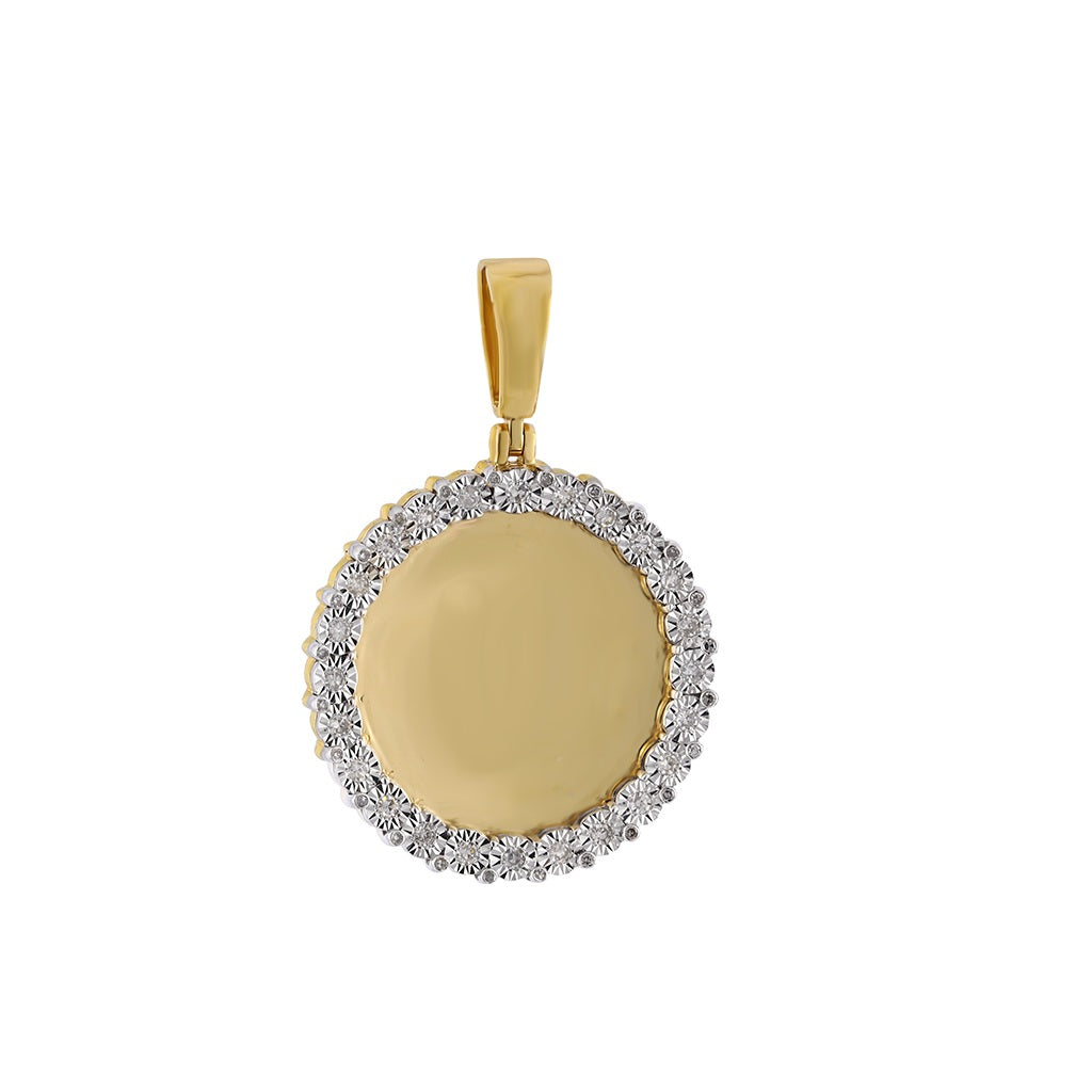 3/8 CT. Round Diamond - Round Shape Custom Photo Pendant By Fehu Jewel