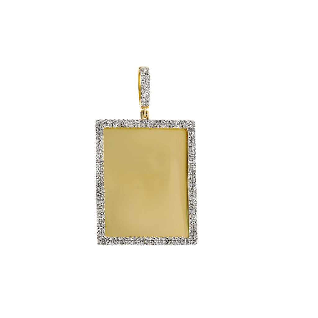 Rectangle Shape Custom Photo Pendant with  1-1/3 CT. Round Diamond -  By Fehu Jewel