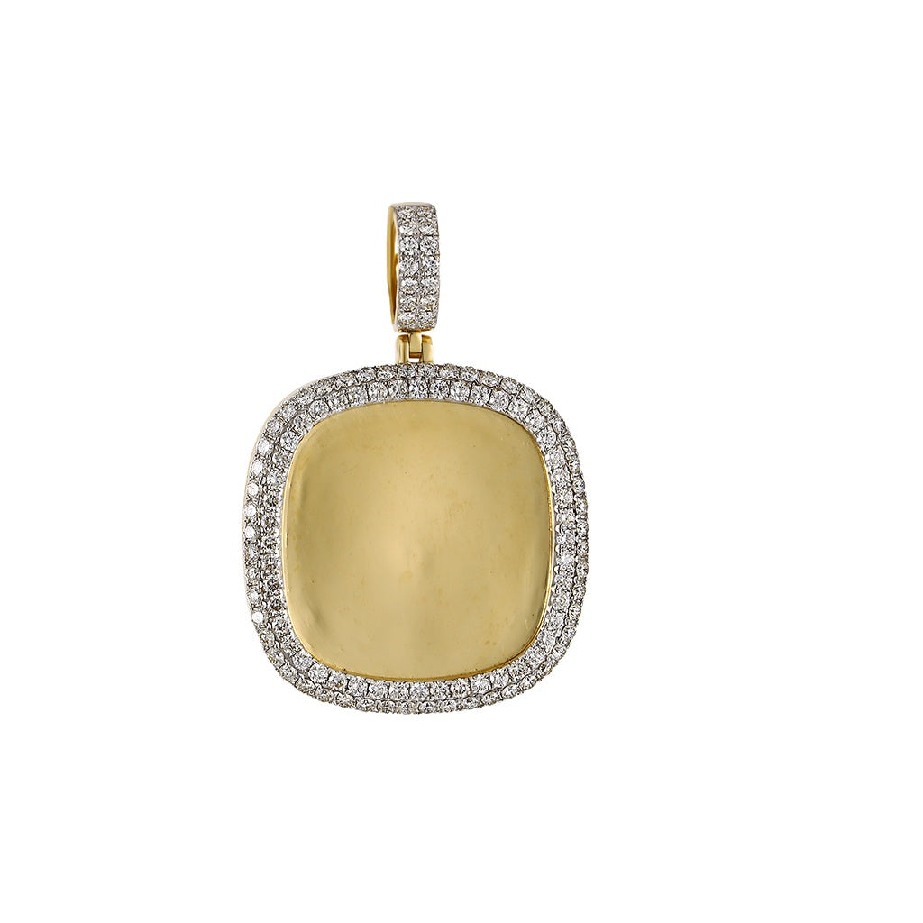 Squircle Shape  Custom Photo Pendant  With 3.14 CT Round Diamond By Fehu Jewel