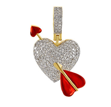 0.90ct  Diamond Heart Pendant 10k Gold For Women
