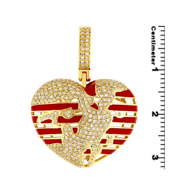 0.68ct  Diamond Heart Pendant 10k Gold For Women